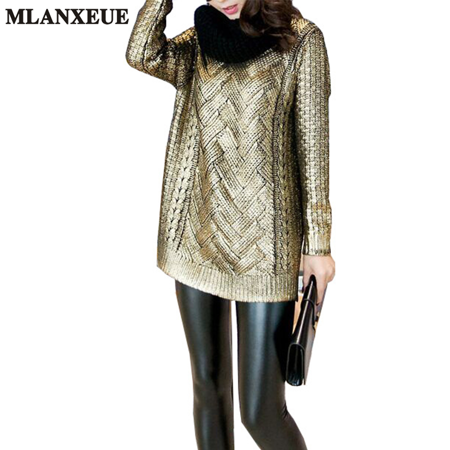 4fb52f7176 Women Fashion Bronzing Silver Knitted Sweater Women 2018 Ladies Pullovers  Gold Silver Round Neck Sweater Casual