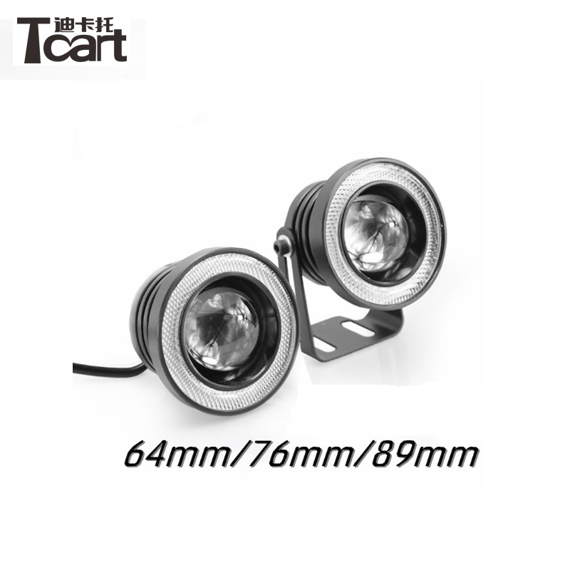 Tcart 1Set Car 89mm Projector Halo Rings For Toyota Prius 2008-2014 Fog Lamp Auto LED Fog Light With Lens COB Angel Eyes 2x 3 inch 76mm round led cob projector fog light lamp bulbs with green angel eyes halo ring drl daytime running lamp car auto