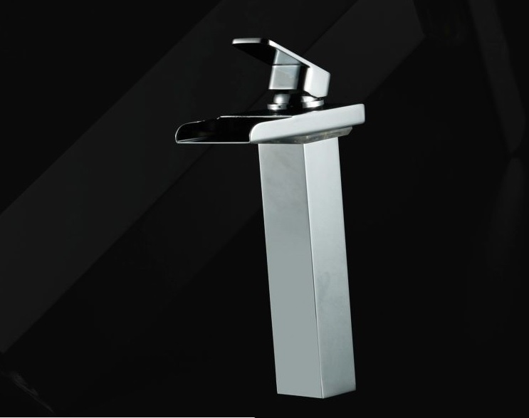 Extra 20cm High LED Basin Faucet for Countertop Basin,Chrome Finish LED Color Changing Waterfall Mixer Tap, Red Green Blue