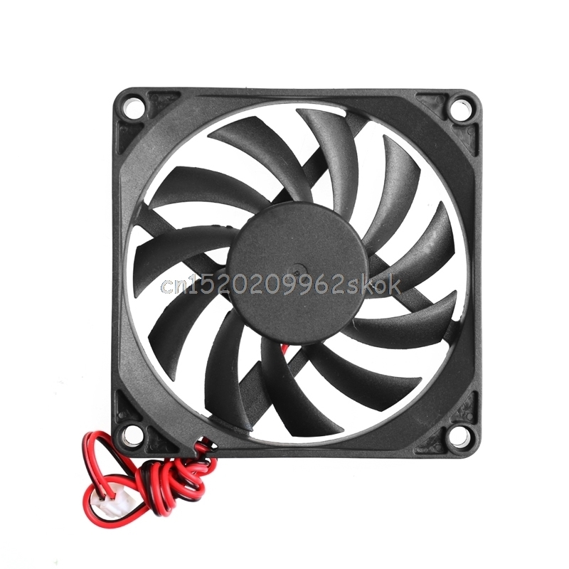 12V 2-Pin 80x80x10mm for PC Computer CPU System Heatsink Brushless Cooling Fan 8010 #H029# personal computer graphics cards fan cooler replacements fit for pc graphics cards cooling fan 12v 0 1a graphic fan