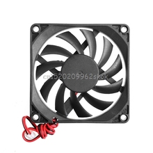 12V 2-Pin 80x80x10mm for PC Computer CPU System Heatsink Brushless Cooling Fan 8010 #H029#