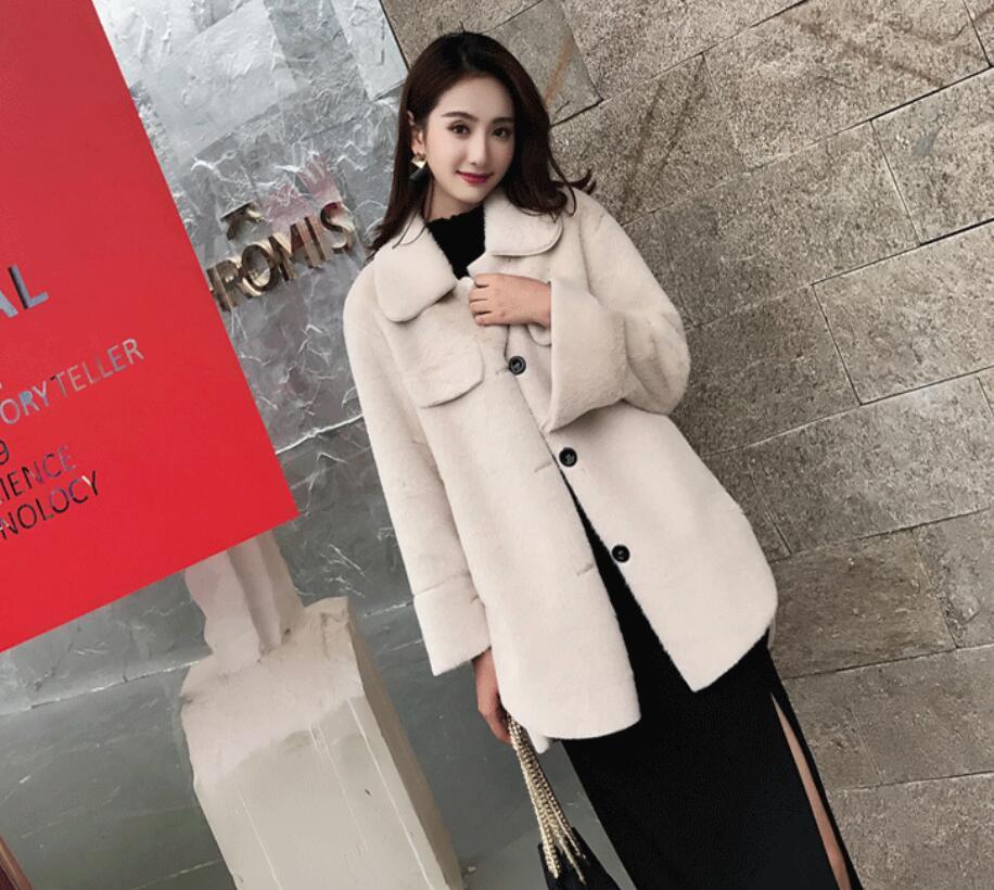 3 Colore Coreana Faux Beige Del Pelliccia Femminile Stile camel Temperamento Della Lunga Rosa colore Lungo Inverno Versione 2018 Donna E Inghilterra Autunno Di Allentato 6F6z8q0R