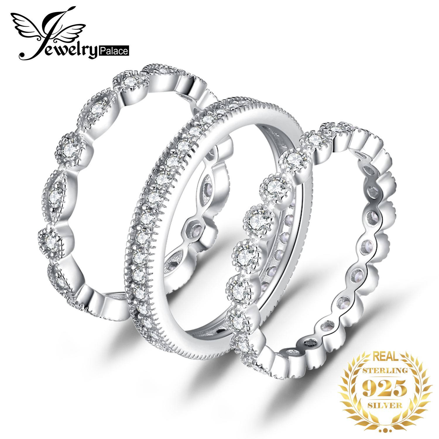Smykker Palace Fashion 2,15ct Cubic Zirconia 3 Eternity Band Rings For Women Pure 925 Sterling Silver Ring Real Silver Jewelry