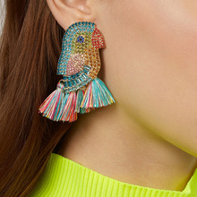 AE-CANFLY Fashion Boho Parrot Shiny Crystal Earrings for Women Long Tassel Drop Big Statement Jewelry