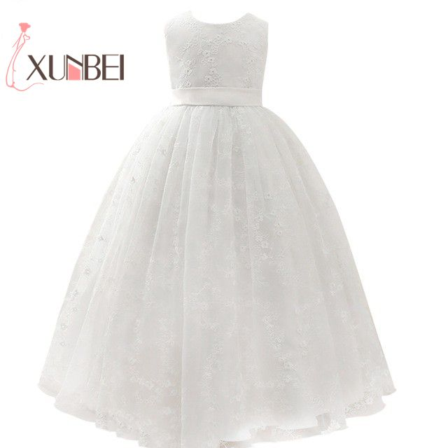 petites filles Princess Pink Flower Girl Dresses 2019 Ball Gown Lace Girls Pageant Dresses First Communion Dresses