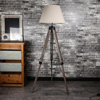 Vintage Retro Loft American Country Wood Fabric Led E27 Tripod Floor Lamp With Foot Switch For Living Room Bedroom Bedside 1047