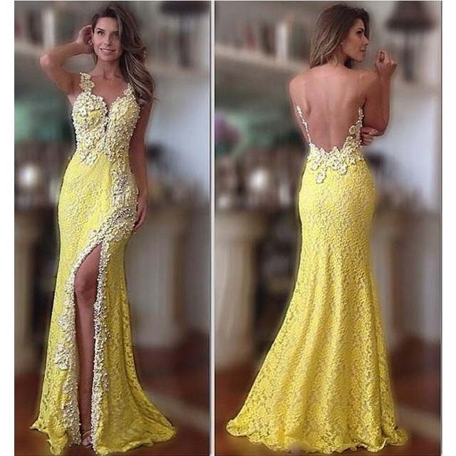 2017 Yellow Lace Slit Mermaid Long Evening Dresses Plus Size Sleeveless See Through Back Prom Gown Party Dress Vestido De Noche