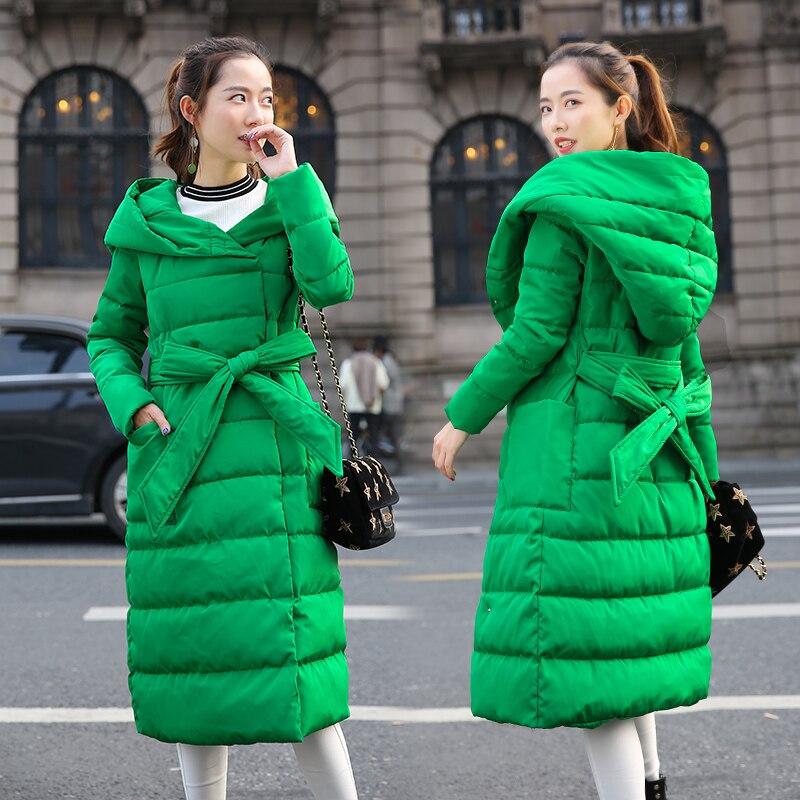 2019 nouveau duvet coton veste manteau femmes chaud à capuche vers le bas Parkas manteau femme Long Slim coton rembourré pardessus manteau LP391-in Parkas from Mode Femme et Accessoires    1