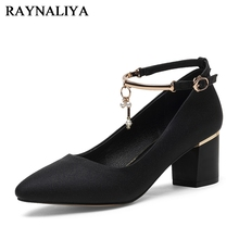 New Spring High Heels Pumps 2018 Fashion Med Heel Pointed Toe Footwear Ladies Party Women Pumps Ankle Strap Shoes YG-B0137 women s velvet med heel comforable mary jane pumps brand designer round toe spring new female cute footwear shoes for women sale
