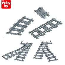 100 DIY Tracks Splicing City Train Rails Birthday Gifts Building Blocks Toys Straight Curved for Boys Game Compatible