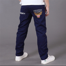 2019 Letters Kids Jeans for A Boys Trousers Casual Elastic Waist Pencil Pants for 4-16T Children's Jeans Pants Clothes Clothing цена и фото