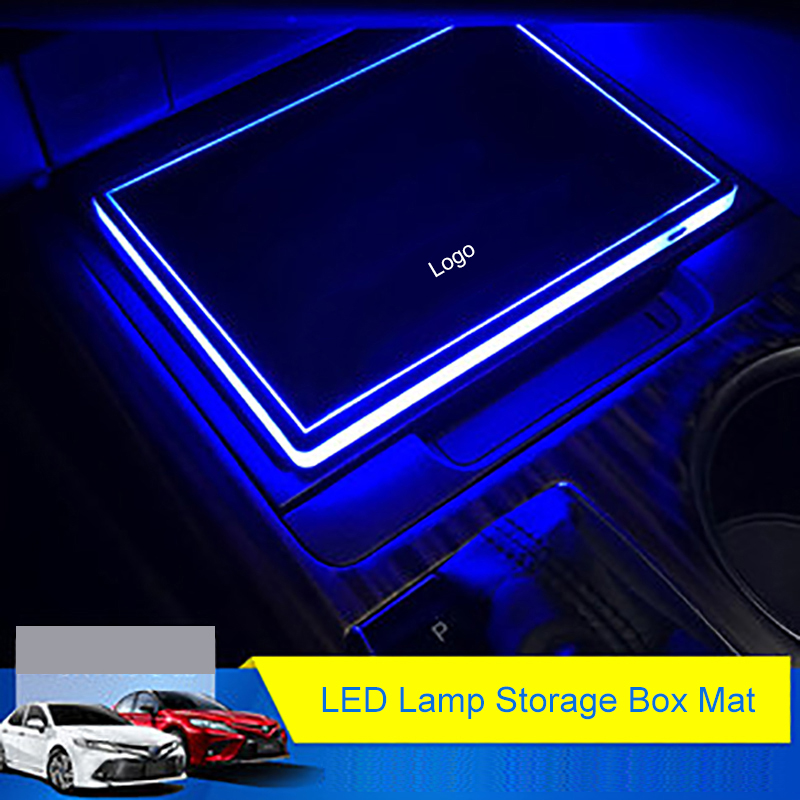 все цены на QHCP Acrylic LED Lamp Storage Box Mat Ambient Light Water Cup Holder Pad Sticker Vibration Induction Fit For Toyota Camry 2018