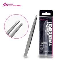 Jellend slant pinças premium alta precisão sobrancelha pinça de aço inoxidável rosto ferramenta de remoção do cabelo para mulher maquiagem