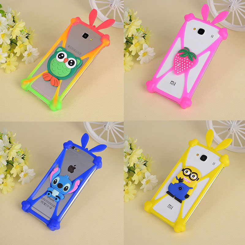 Cartoon Silicone Universal Cell Phone Holster Cases For HTC Desire 310 320 500 520 526 600 601 610 616 626 700 816 820 826 Cover