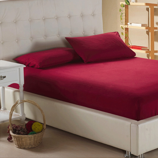 Deep Red Wholesale Solid Color Fitted Sheet Home Textile Bed Sheets Hotel  Bed Covers Mattress Cover