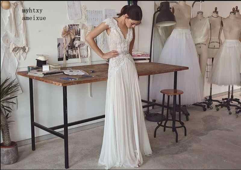 Boho לנכש שמלות 2019 בוהמי חתונת שמלות עם חגורת גבישי עמוק V-צוואר גב פתוח קו כלה שמלות Vestido דה noiva