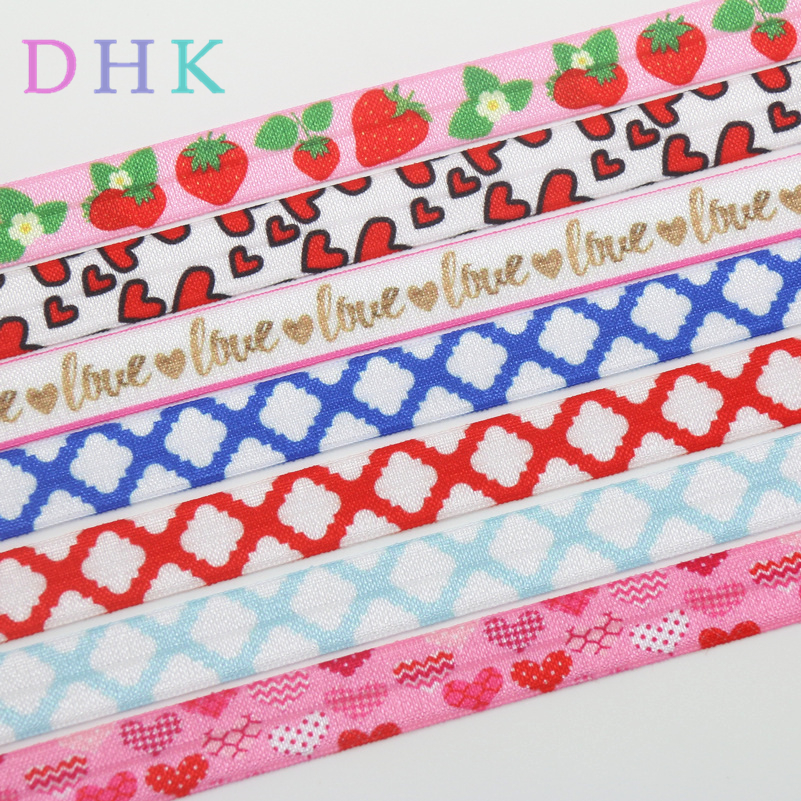 """5 yds 7//8/"""" VALENTINE CONVERSATION HEARTS LOVE YOU GROSGRAIN RIBBON 4 HAIRBOW BOW"""