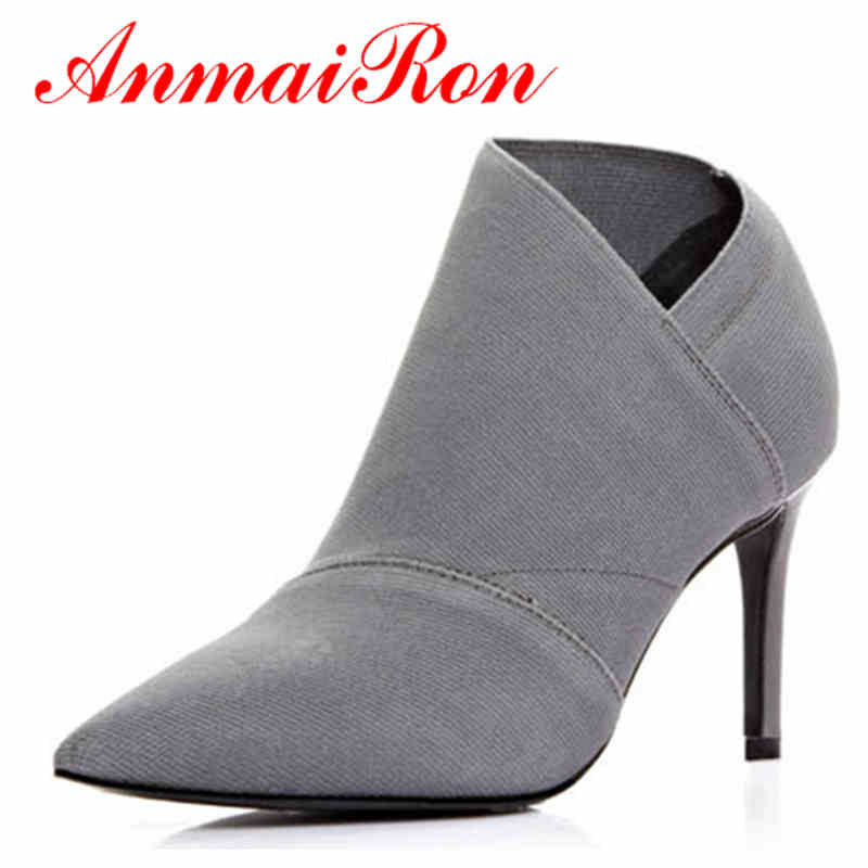 ANMAIRON Gray black 2016 fashion women autumn ankle boots high heels women's shoes Pointed Toe Elastic band womens boot big size new spring autumn women shoes pointed toe high quality brand fashion ol dress womens flats ladies shoes black blue pink gray