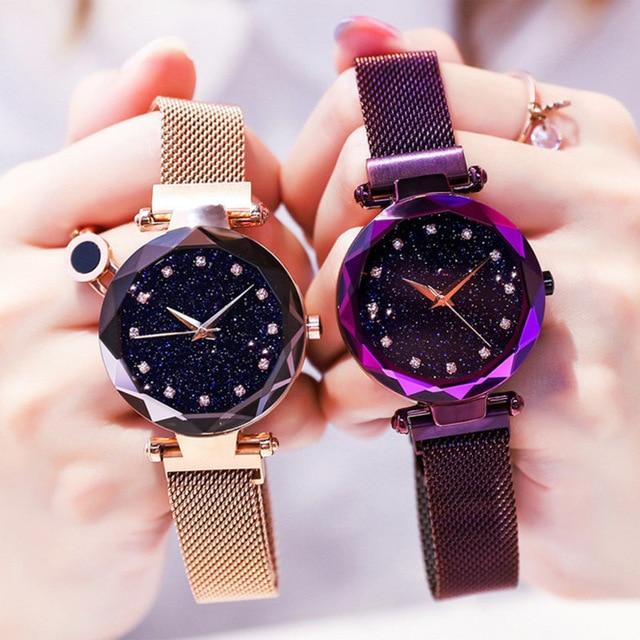 Luxury Women's Watches With Bracelet Ladies Magnetic Clock Starry Sky Female Quartz Wrist Watches For Women Relogio Feminino