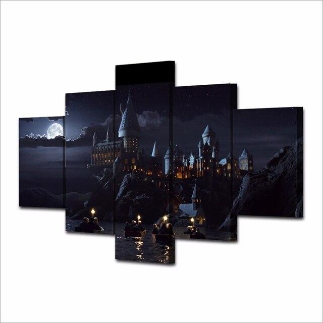 7b8806dab8 5 Pezzi Harry Potter Scuola Castello Wall Art Picture Home arredamento  Soggiorno Tela Stampa Della Parete
