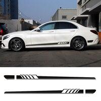 Gloss Black Auto Side Skirt Car Sticker Racing Stripe Side Body Garland For Mercedes Benz C