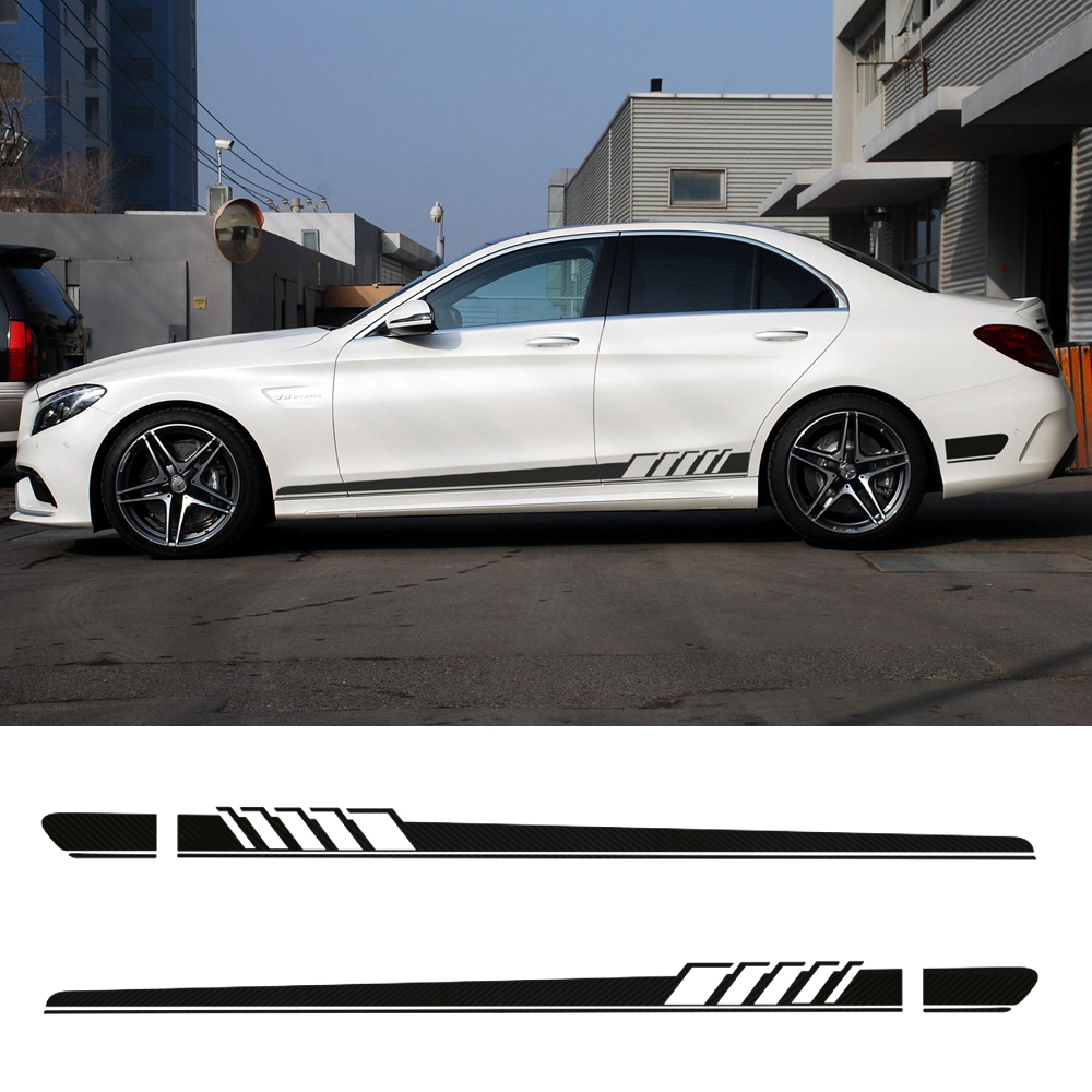Gloss/Matte/5D Carbon Black NEW Edition 1 Style Side Stripe Sticker for Mercedes Benz C Class W205 C180 C200 C300 C350 C63 AMG amg style w205 carbon fiber rear trunk spoiler for mercedes benz w205 c180 c200 c220 c250 c300 c350 c400 c63 amg 2015 2017
