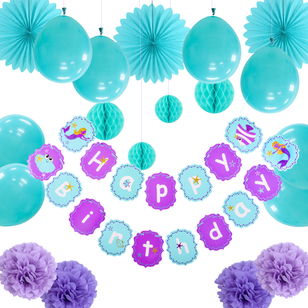 20pcs Little Mermaid Party Decorations Set Happy Birthday Banner Ballons Fans Balls Pom Pom Flowers Under the Sea Birthday