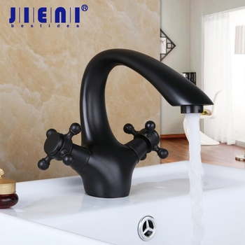 Oil Rubbed Bronze Bathroom Basin Sink Mixer Tap Brass Polished Black Doubles Handles Basin Mixer Faucet