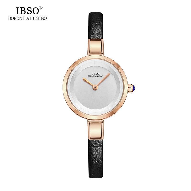 IBSO 5.7MM Thin Watches Women Genuine Leather Strap Female Wrist Watch 2018 Top Brand Luxury Quartz Women Watch Reloj Mujer цена и фото