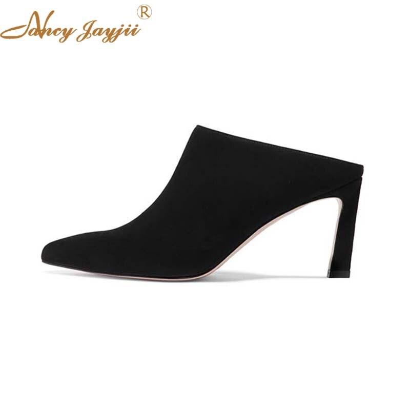 Mode En Occasionnel Printemps Travail 2019 Dehors Mules De Femme Troupeau Dames Talons Shallowthin Noir Black Pantoufles Solide Chaussures WDHY2I9E