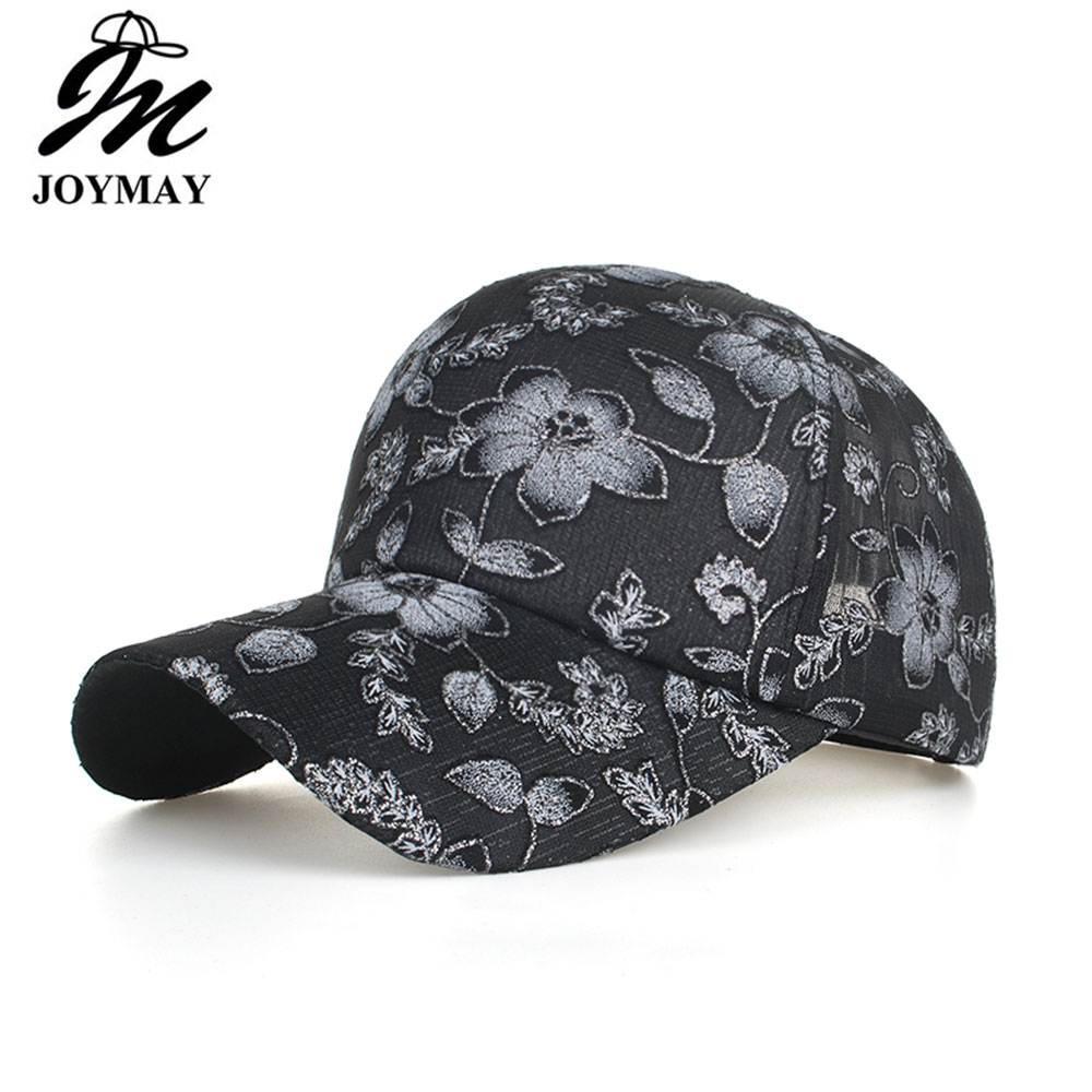17626b19195637 Joymay 2019 NEW ARRIVAL Spring Summer Mesh Baseball cap Women Floral embroidery  fashion Snapback Unisex sport hat B613