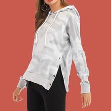 Camo Sweatshirt Camouflage Hoodie Women Poleron Mujer 2019 Ripped Hoodie Zip Kawaii Harajuku Pullover Button Hoodie Drawstring color block panel drawstring pullover hoodie