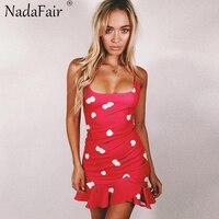ForeFair Red Ruffles Print Summer Dress Women Sheath Sweet Sling Mini Dresses
