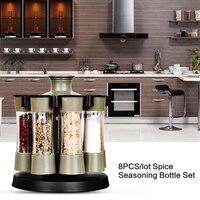 8PCS/lot Plastic Rotary Sauce Spice Seasoning Jar Box Salt Containers Pepper Shakers Storage Bottles Set Condimento Especiero