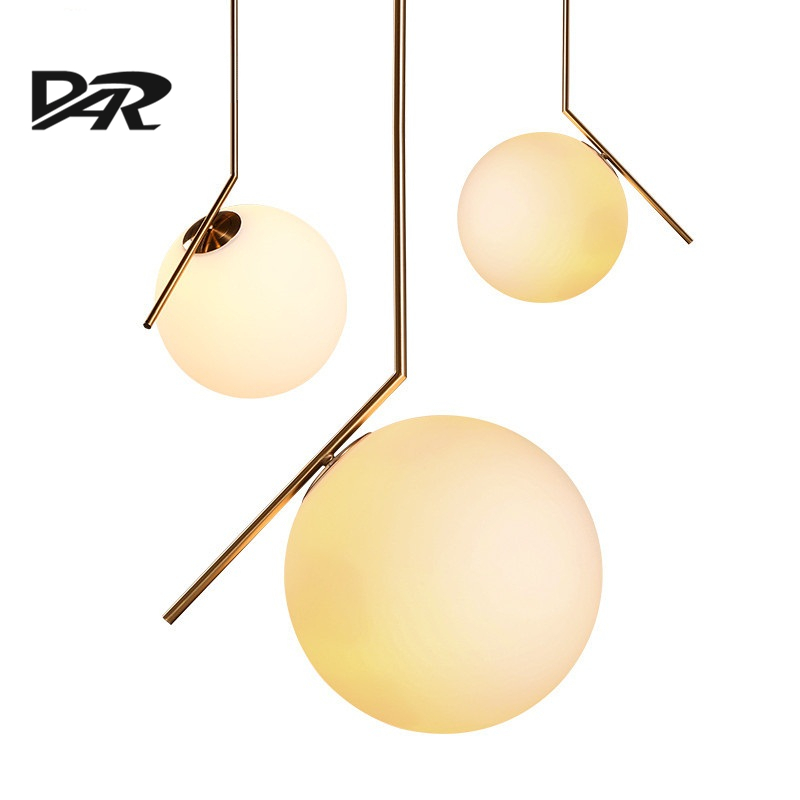 Simple Glass Ball Iron Pendant Light Lovely Home Decoration Suspension Luminaire Fashion Postmodern Style Hanging Lamp D20/D30CM