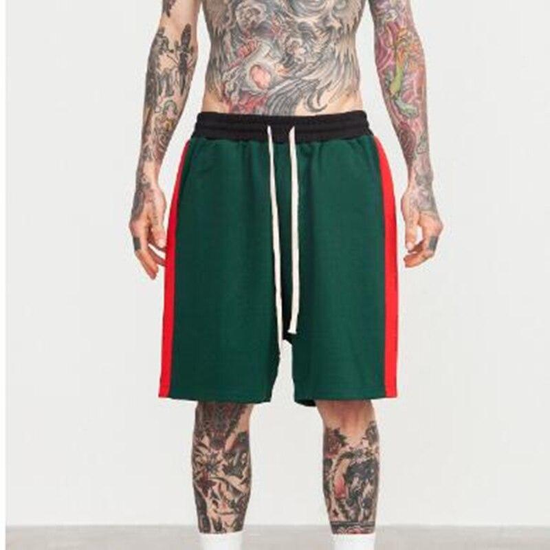 2018 SS New Side Stripe Drawstring Shorts Hip Hop Summer Mens Sweatpants Men Skate Board Harem shorts Terry Oversized Shorts