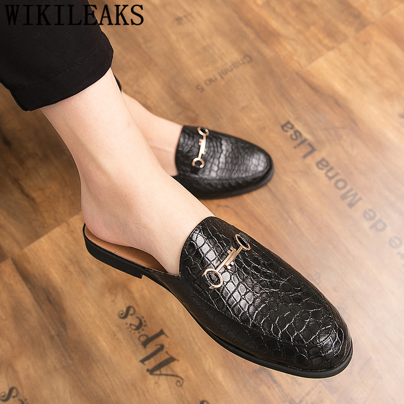 Crocodile Shoes Men Leather Coiffeur Half Shoes For Men Slide Slipper Brand Designer Italian Mens Casual Shoes Hot Sale Ayakkabi