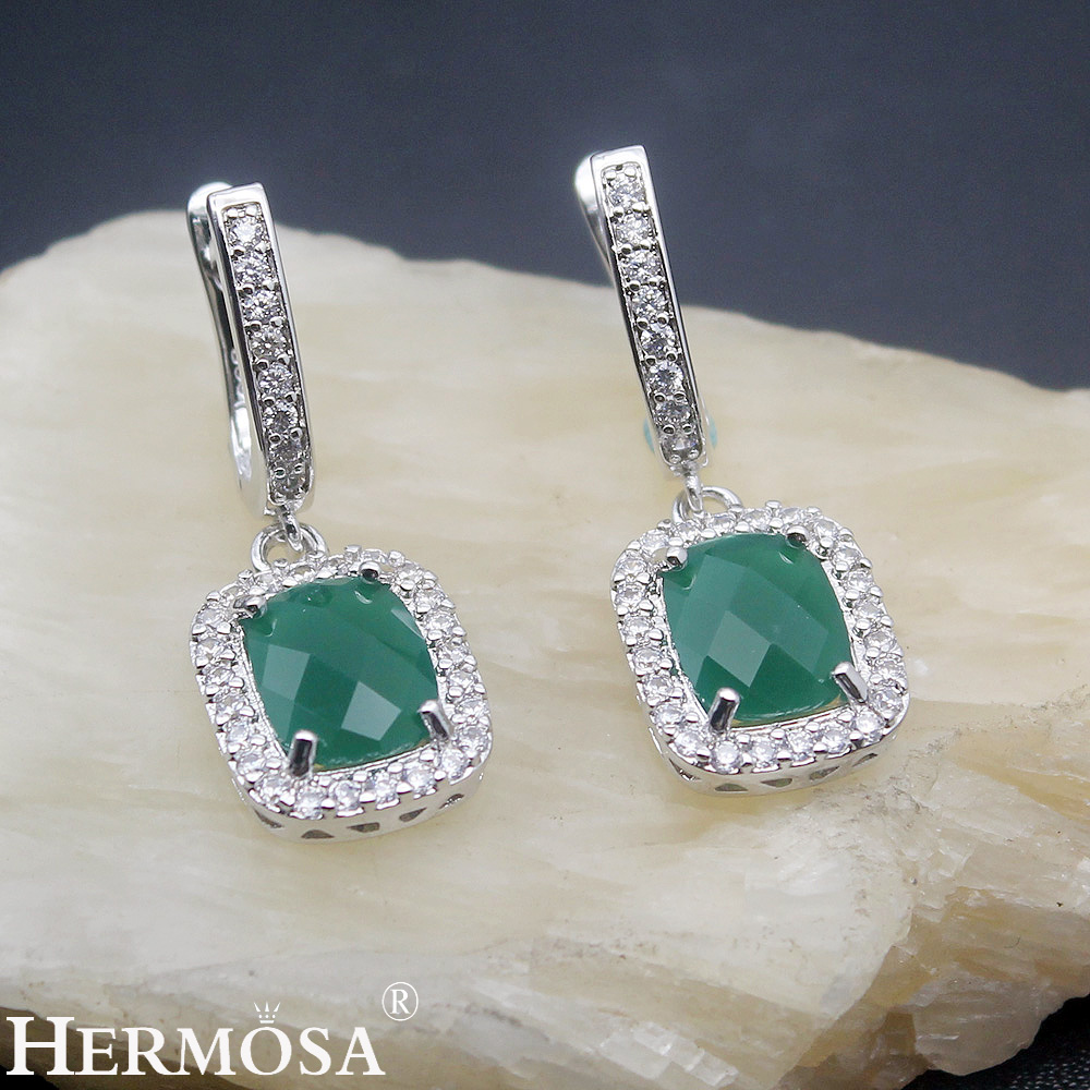 Precious Stone Classic Xmas Gift 925 Sterling Silver Earrings HERMOSA Christmas Green Jewelry