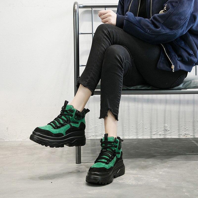 Mulheres Primavera Outono Sapatos Casuais de Alta Top Fashion Sneakers Mulheres Plataforma de Couro Genuíno Respirável Sapatos Tenis Feminino MC-16