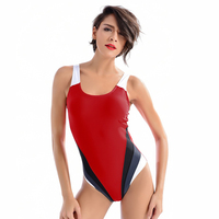 Vintage One Piece Suit Swimwear Quick Drying Swimming Racing Sport Women Swimsuit Maillot Athletic Training Trikini