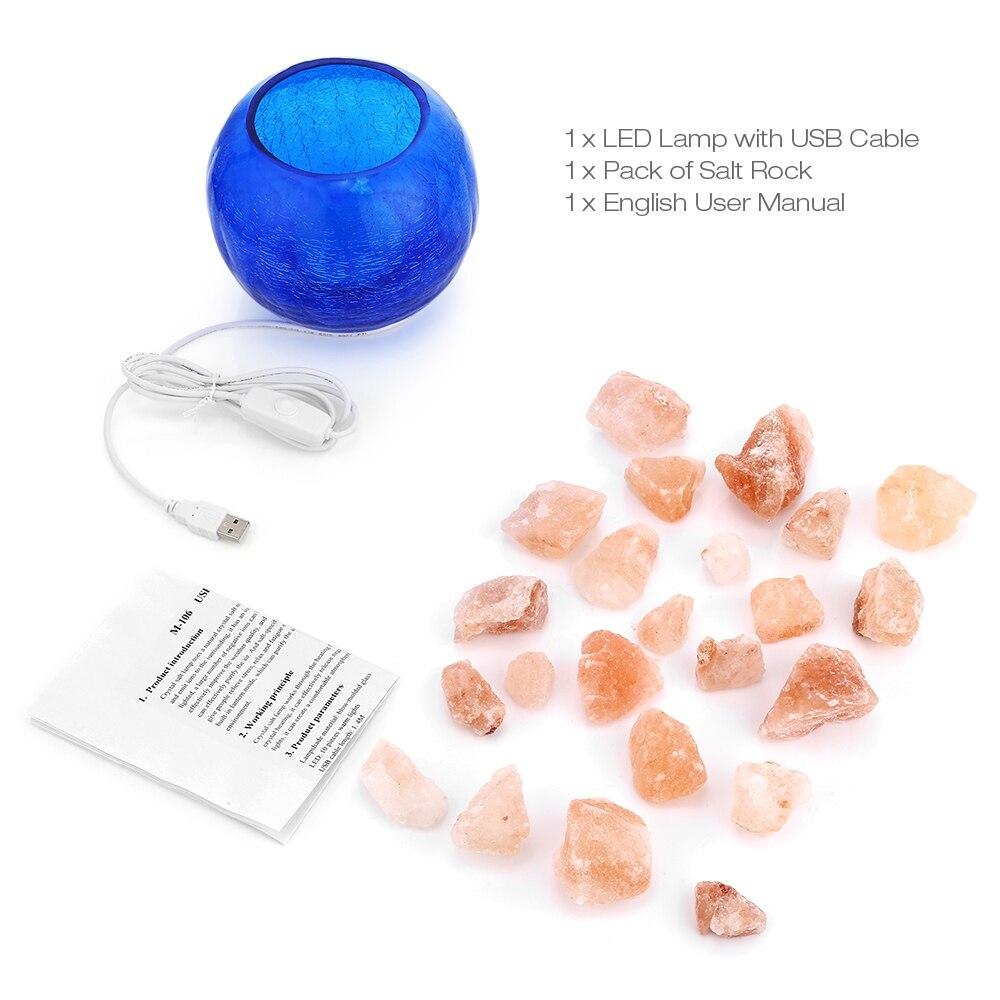 Lámpara de sal de cristal azul USB, luz LED de noche regulable con función de aire purificado, lámpara de mesa para interiores, lámpara de lava para dormitorio - 4