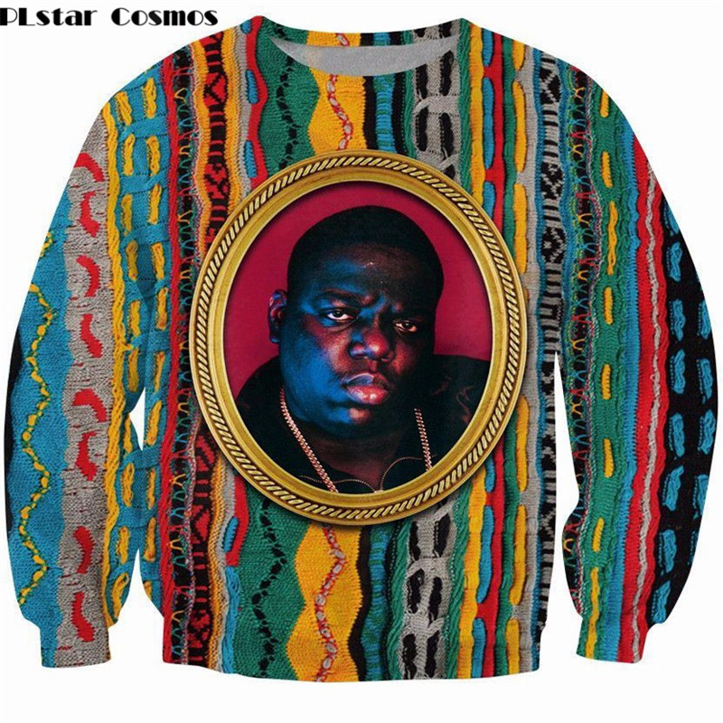 PLstar Cosmos Sweatshirt Notorious B.I.G. Jumper Biggie Smalls Character Print Sweats Fashion Clothing Women Men Pullover