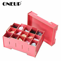 ONEUP Storage Box DIY Wooden Container Drawer Divider Lidded Closet Boxes For Ties Socks Bra Underwear Organizer