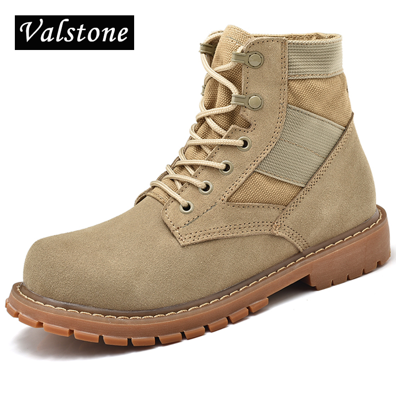 Valstone Men High Top Army Boots Superior Cow Suede boots Winter warm snow boots Fashion Short Bootie Wild Desert Boots lovers