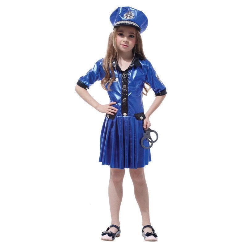 Filles Chef de La Police La Récréation Cop Carrière Polyester Cosplay Fantaisie Bleu Robe Et Chapeau Halloween Costume Pour Enfants Cadeau Tour
