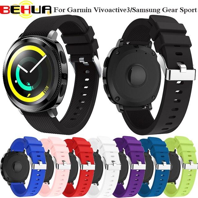"""BEHUA 20 מ""""מ רצועת השעון רצועת עבור Garmin Vivoactive 3/Garmin 645/Huami נוער/Samsung ציוד ספורט סיליקון גומי להקת יד רצועה"""