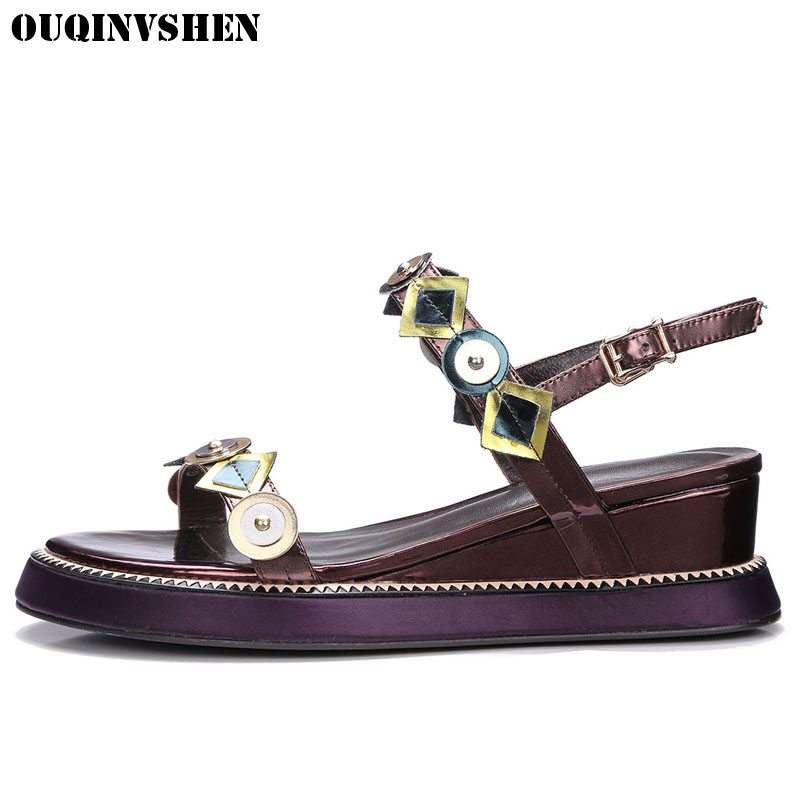 OUQINVSHEN Wedges Sandals Metal Buckle Women Sandals New Ladies Girl Casual Fashion Summer Genuine Leather Sandal Woman Brand woman fashion high heels sandals women genuine leather buckle summer shoes brand new wedges casual platform sandal gold silver