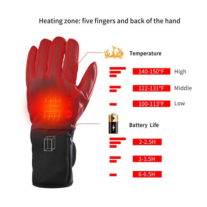 Спаситель зимние теплые перчатки для мужчин и женщин езда 7,4 V электрические перчатки велосипед Спорт на открытом воздухе перчатки с подогревом - 2