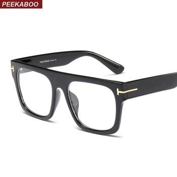 Peekaboo flat top square oversize glasses for women optical leopard black designer eyeglass frames for men accessories