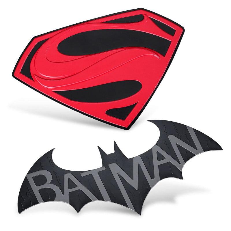 Batman vs superman grande adesivo de carro de luxo para computador portátil geladeira motocicleta diy 3d metal decalque adesivos brinquedo